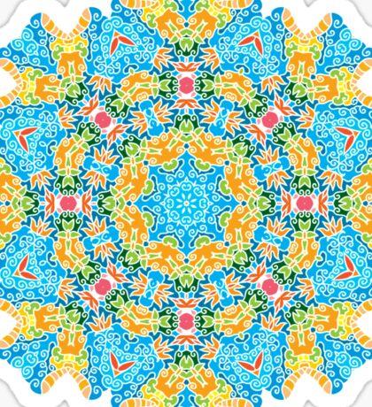 Psychedelic jungle kaleidoscope ornament 25 Sticker
