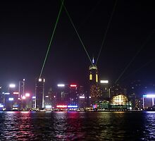 Laser Show Hong Kong Harbour by Lynn Bolt