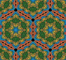 Psychedelic jungle kaleidoscope ornament 26 by Andrei Verner