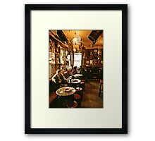 "Early evening in the ""Olde Ship Inn"", Seahouses, 1980s, NE England. Framed Print"