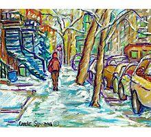EARLY WINTER SNOW VERDUN MONTREAL STREET SCENE CANADIAN ART Photographic Print