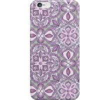 Lavender & Grey - Colored Crayon Floral Pattern iPhone Case/Skin