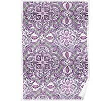 Lavender & Grey - Colored Crayon Floral Pattern Poster