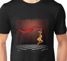 Girl jumping in grunge room Unisex T-Shirt
