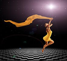 Girl jumping on checkered floor by AnnArtshock
