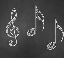 Music notes on blackboard by AnnArtshock
