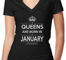 queens are born in january 2 Women's Fitted V-Neck T-Shirt