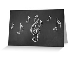 Music notes on blackboard 3 Greeting Card