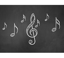 Music notes on blackboard 3 Photographic Print