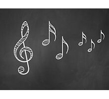 Music notes on blackboard 4 Photographic Print