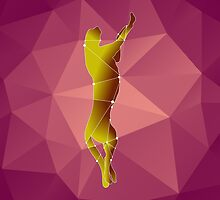 beautiful polygonal guepard  on a pink background by Ann-Julia