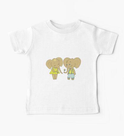 Couple cute elephants fallen in love Baby Tee