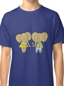 Couple cute elephants fallen in love Classic T-Shirt