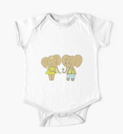 Couple cute elephants fallen in love One Piece - Short Sleeve