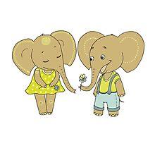 Couple cute elephants fallen in love Photographic Print