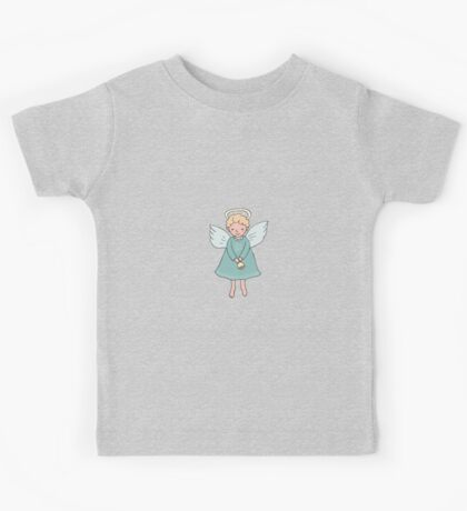 Hand drawn cute Christmas angel with bell in cartoon style Kids Tee