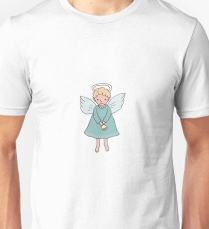 Hand drawn cute Christmas angel with bell in cartoon style Unisex T-Shirt