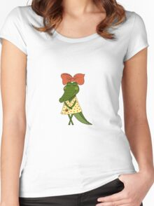 Crocodile girl with closed eyes having flower in her hand Women's Fitted Scoop T-Shirt