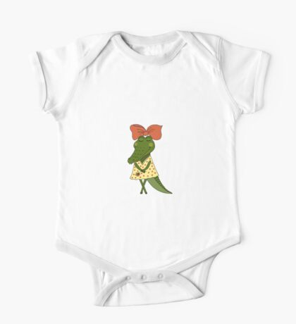 Crocodile girl with closed eyes having flower in her hand One Piece - Short Sleeve
