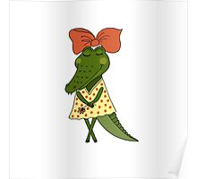 Crocodile girl with closed eyes having flower in her hand Poster