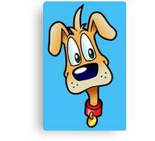 Cute dog cartoon on blue background Canvas Print