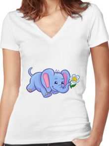 Cute elephant with flower cartoon  Women's Fitted V-Neck T-Shirt