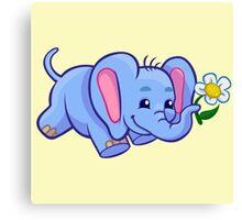 Cute elephant with flower cartoon  Canvas Print