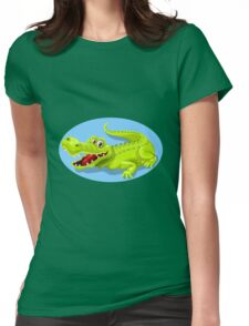Friendly and funny crocodile cartoon Womens Fitted T-Shirt