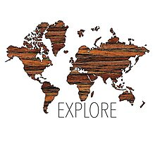 Explore World Map Photographic Print