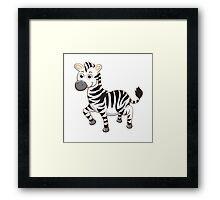 Cute cartoon zebra Framed Print