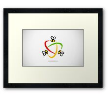 bee-flying-circle-logo Framed Print