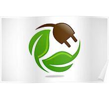 eco-electric-leaf-logo Poster