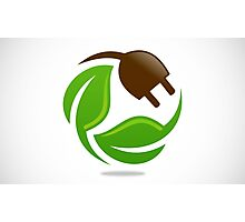 eco-electric-leaf-logo Photographic Print