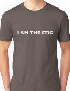 I AM THE STIG - English White Writing Unisex T-Shirt