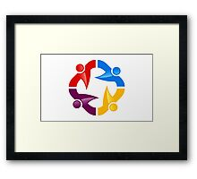 circle-people-workteam-logo Framed Print