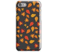 seamless pattern with autumn leaves on a dark background iPhone Case/Skin