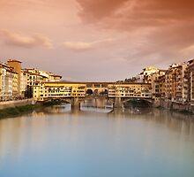 Ponte Vecchio at sunset, Florence, Italy by Antonio Gravante