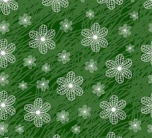 seamless pattern with flowers on a green background grunge by Ann-Julia