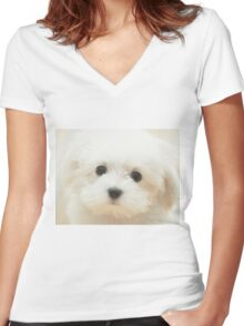 Cute Puppy Women's Fitted V-Neck T-Shirt