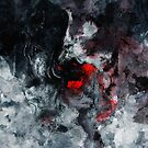 Red and Black Minimalist Abstract Painting by Deniz Akerman