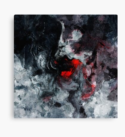 Red and Black Minimalist Abstract Painting Canvas Print