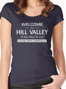 Welcome To Hill Valley (White) Women's Fitted Scoop T-Shirt