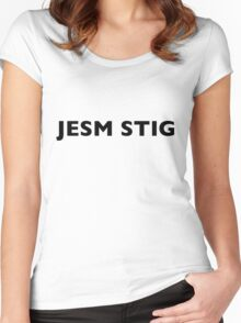 I AM THE STIG - CZECH Black Writing Women's Fitted Scoop T-Shirt
