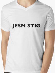 I AM THE STIG - CZECH Black Writing Mens V-Neck T-Shirt