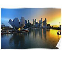 Marina Bay, Singapore at sunset (2) Poster