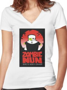 zombie nun Women's Fitted V-Neck T-Shirt
