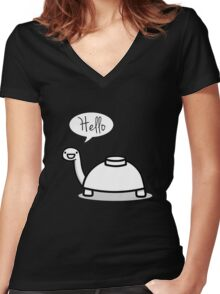 Mine turtle stops by to say hello Women's Fitted V-Neck T-Shirt