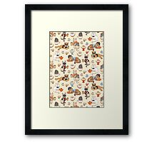 Tea Party with Fancy Cats pattern Framed Print