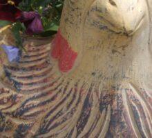 clay bird n pansies Sticker