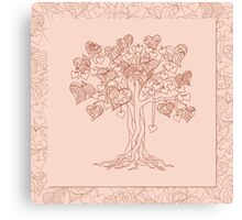 zen tree with hearts Canvas Print